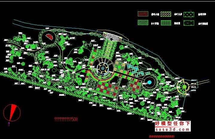 河道绿化设计cad平面图